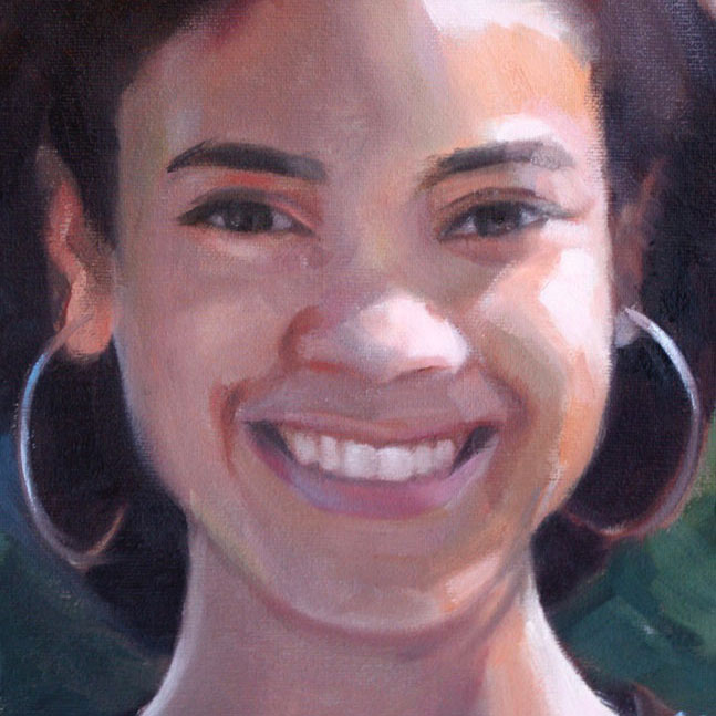 Custom painting of person smiling