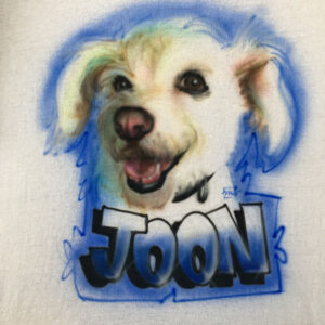 Airbrushing of dog